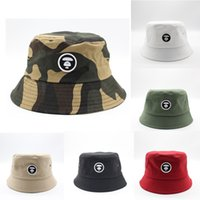 Wholesale bucket hats men resale online - Camouflage Embroidery Bucket Hat Foldable Travel Beach Sun Fisherman Bowler Caps Fashion Street Hats Colors