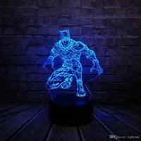 siyah ledli masa lambası toptan satış-Karikatür Siyah Panter 3D Lambası Gece Işığı USB 7 renk Tatil Hediye Luminaria Çocuklar Oyuncak Masa Dokunmatik Aydınlatma LED