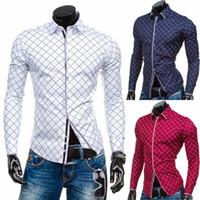 новые мужские стили нижнего белья оптовых-ZOGAA  New Men Shirts Long Sleeve British Style Slim Fit Plaid Shirt Men Cotton Men's Casual Top Underwear Business 3XL