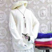 Wholesale angora pullover sweater for sale - Group buy Korean loose women s sweater causal Sleeve knitted Angora hair highneck warm autumn winter Pullover mink cashmere clothes
