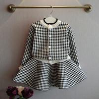 roupas de lã para meninas venda por atacado-Meninas do bebê Camisola Set Moda Outono Inverno Roupas Meninas roupa da menina do bebê da criança roupas de menina Cardigan + saias 2 pcs Set Roupas 2 Cores