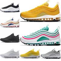 melhores sapatos para homens brancos venda por atacado-Nike air max 97 airmax 97 Sapatilhas 97 Sapatos Homens correndo Melhor qualidade sapato Mulheres Frete grátis Tripel Branco Metálico De Ouro Bala De Prata