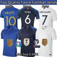 maillot jersey fußball großhandel-Frankreich Fußball-Jersey Frankreich 100. Jersey Maillot Frankreich Griezmann Mbappe Pogba Jersey 19 20 Thailand Top-Qualität