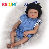 ingrosso pelle giocattolo realistica-Nuovo arrivo 23 pollici s 57 cm Silicone Full Body Realistico Neonato Ragazza Baby Doll Toy Per Kid Regalo di Natale Black Skin