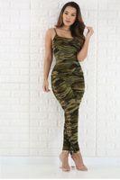 pantalon vert femme achat en gros de-Femmes Été Sexy Combinaison Barboteuses Camouflage Armée Vert Costumes Sans Manches Femme Vêtements Ensemble Combinaisons Taille S-XL