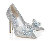 elmas beyaz düğün topuklu toptan satış-2019 moda yüksek topuklu düğün beyaz Külkedisi ayakkabı seksi bayanlar kristal platformu gümüş glitter elmas gelin ayakkabı yüksek topuklu parti