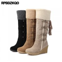 Wholesale black suede wedge long boots resale online - Big Size Winter Snow Boots Long High Heel Suede Australian Women Knee Furry Wedge Fur Shoes Lace Up Round Toe Beige Cheap