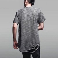 camisas personalizadas para homens venda por atacado-Hot 2019 Novos Homens Rasgado Camisa Destroyed T Personalizado Kanye West Hip Hop Tee de Manga Curta de Algodão T-Shirt Longa CAMISA DE HOMBRE S-2XL