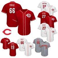 ingrosso jersey kemp-Cincinnati Reds Jersey 19 Joey Votto 27 Matt Kemp 66 Yasiel Puig basso freddo Payer baseball Maglie M-3XL