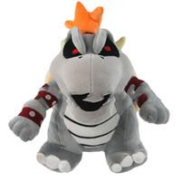 mario jouets en peluche gratuits achat en gros de-Super Mario figurine En Peluche Jouets Os Feu dragon gris Bowser Koopa Peluches Peluche Jouet cadeau pour enfants jouet EMS livraison gratuite M006