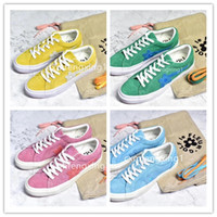 Wholesale one star shoes for sale - Group buy 2018 New TTC The Creator x One Star Golf Le Fleur Wang Suede Red Blue Purple Green Yellow Pink Sunflower Casual Skate Shoes With Bag Box