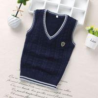 tığ işi çocuk kazağı toptan satış-Moda stil Çocuklar erkek çocuk çocuk kürk yelek ceket Boys Crochet Pamuk Çocukları yelek en kaliteli kolsuz kazak örme kazak