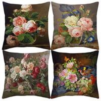 Wholesale vintage pillows bird resale online - Vintage Style Oil Painting Flowers Cushion Covers European Retro Birds And Flowers Art Cushion Cover Linen Cotton Pillow Case Sofa Decor