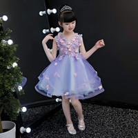 vestido de niña de flores de hadas de la boda al por mayor-2019 primavera y verano nuevo vestido de princesa vestido de niña niña niña de las flores boda tutu flor de hada traje de piano