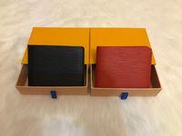 paris geldbörsen großhandel-Paris karierten Stil Designer ens Wallet berühmten Männer Wallet Geldbeutel spezielle Leinwand mehrere kurze kleine bifold Geldbörse mit Kasten