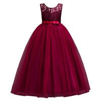 bordo çiçekleri toptan satış-Prenses Bordo Dantel Çiçek Kız Elbise 2019 Tül Kızlar Pageant elbise İlk Communion elbise Pembe Güzel Çocuklar Abiye giyim MC0889