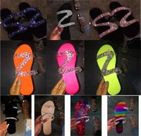 Wholesale 2020 Sale Summer Women Crystal Slippers Glitter Flat Soft Bling Female Candy Color Flip Flops Indoor Ladies Slides Hot Beach Shoes D62203