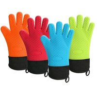 Wholesale bbq glove resale online - New Silicone BBQ Gloves with Cotton Lining Anti Slip Heat Resistant Oven Five Fingers Gloves W9025