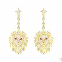 schöne ohrringe für mädchen großhandel-Neue Mode Beliebte Frauen Ohrringe Gelb Vergoldet Voll CZ Lion Ohrringe für Mädchen Frauen für Berufung Schönes Geschenk für Freund
