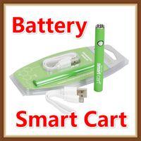 bateria embutida da bateria usb venda por atacado-Popular Bateria SmartCart 450 mAh Pré-aqueça Tensão Variável Vape Caneta Bateria Inteligente Carros de Fundo Inferior de Carregamento Usb Vapor para Cartucho De Óleo De Espessura