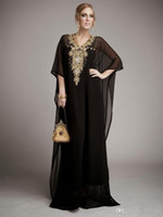 Wholesale maternity evening clothes resale online - Cheap Long Arabic Islamic Clothing for Women Abaya in Dubai Kaftan Muslim Arabic Evening Dresses V Neck Chiffon Beads Party Prom Gowns