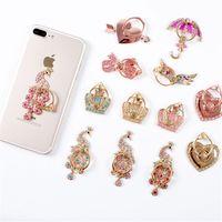 luxus-diamant-handys großhandel-Universal Bling Diamant Griff Ständer Handy Ring Halter Für iphone 7 8 X für Samsung Luxus telefon Stander halter