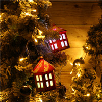 Wholesale white house christmas ornament for sale - Group buy Christmas Glowing House Led Pendant Christmas Tree Decoration Charm Home Party Decoration Gift Ornaments White Xmas