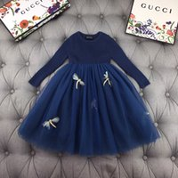 adrette abendkleider großhandel-Mädchenkleider für Kinder Designer-Kleidung 2019 neue bequeme Pullover Mesh-Stitching-Kleid-Blumen-Fee Art intelligentes Mädchen Abendkleid