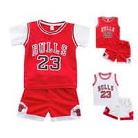 баскетбольные костюмы оптовых-2-7 лет мальчик и девочка летний костюм баскетбол футболка без рукавов жилет шорты из двух частей костюм производительности дышащий пот