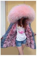 pele de raposa cinza quente venda por atacado-Casacos quentes maomaokong marca rosa guarnição da pele com capuz rosa fox forro de pele cinza jaquetas de lona inverno fox fur parkas Austrália
