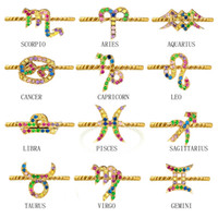 ingrosso anelli zodiacali moda-12 costellazioni Anelli con segno zodiacale per donne Ragazze Oro Arcobaleno colore cz Zirconi cubici moda Anel anillos Gioielli