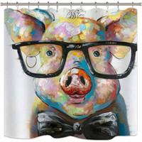lustige stoffe großhandel-Riyidecor Aquarell Schwein Duschvorhang Porträt Tier Lustige Kühle Bunte Vintage Ölgemälde Hipster Nette Dekor Stoff Set Polyester