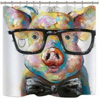 Wholesale portraits paintings for sale - Group buy Riyidecor Watercolor Pig Shower Curtain Portrait Animal Funny Cool Colorful Vintage Oil Painting Hipster Cute Decor Fabric Set Polyester