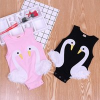 Wholesale baby swan rompers resale online - Baby Girl Clothes Ins Swan Infant Rompers Lace Toddler Girls Jumpsuits Cartoon Newborn Climbing Clothes Summer Baby Clothing YW3775