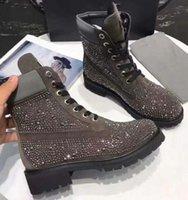 botines de pinchos con tachuelas al por mayor-las mujeres del diseñador botines inferiores del rojo Arranque de las mujeres zapatos de las muchachas de lujo del diseñador con Botas Diamond Party Spikes tachonado zapatos de plataforma 10