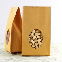 çanta hediye paketi kağıdı toptan satış-Ücretsiz Kargo Çok boyutlu Açık Üst Körükler pocke Ambalaj Parti Gıda Hediye için Temizle Pencereli Kraft Kağıt Isı Seal Bag Stand Up