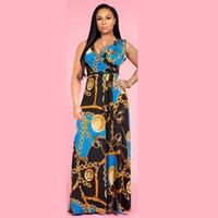 Wholesale fashion dresses online - Plus Size Sashes Printed Sleeveless Womens Summer Dresses Fashion Sexy Ladys V Neck Casual Maxi Dresses