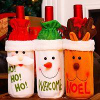 ingrosso borsa da sposa rosa-Babbo Natale Pupazzo di neve Cervo Coperchio bottiglia di vino Sacchetti regalo di Natale Tenere Decorazioni per la cena di Natale Decorazioni per la tavola da casa 62257