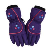 ingrosso guanti invernali invernali-Ragazzi ragazze in pile foderato in cotone impermeabile Guanti di cotone per bambini Guanti da sci inverno all'aperto caldo