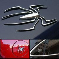 decalques de aranha venda por atacado-2018 Moda 3D Adesivos de Carro Universal Forma De Metal Aranha Emblema Chrome 3D Car Truck Motor Decalque Adesivo Nova Chegada