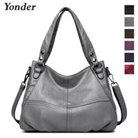 Wholesale lady gray handbags resale online - Yonder Genuine Leather Shoulder Bag Female Designer Handbags Women Bags Large Capacity Casual Tote Bag Fashion Ladies Bags Gray J190508