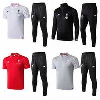 rote schwarze graue hemden großhandel-2018/19/20 Liverpool Trainingsanzug Trikots und lange Hosen Schwarz Rot Grau Weiß Fußball Trikot S-XL Top Qualität