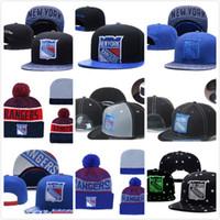 new york beanie hüte großhandel-Herren New York Rangers Eishockey Strickmütze Stickerei verstellbarer Hut Bestickte Snapback Caps Blau Weiß Grau Genähte Strickmütze