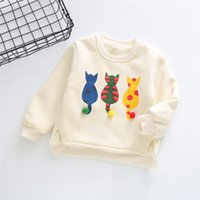 Wholesale baby girl velvet clothes resale online - Dulce Amor Winter Warm Kids Hoodies Sweatshirt With Velvet Children Print Cats Pullover Tops Cotton Baby Boys Girls Clothing