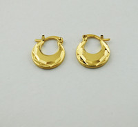 Fashion Real 9 k Solid Yellow Gold Filled Drop Earrings Christmas Gift Simple Temperament Small Earring Trendy flat Jewelry