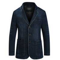 xl yağlı elbise toptan satış-Yeni Erkek Denim Blazer Erkekler Moda Pamuk Vintage Suit Ceket 4XL Erkek Mavi Ceket Denim Ceket erkekler ince yağ Kot Blazers CY2182