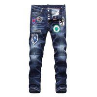 nova moda masculina jeans americanos venda por atacado-Novo 2019 dos homens Jeans Moda Casual Europeu e Americano Primavera e No Outono Calças Dos Homens Longos D1858 Off White Balmain PHILIPP PLEIN DSQUARED2 DSQ2 D2 GUCCI