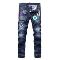 32 jeans largos al por mayor-Nuevos 2019 Jeans para hombres Moda Casual Europeo y Americano Pantalones largos para hombres de primavera y otoño D1858 Off White Balmain PHILIPP PLEIN DSQUARED2 DSQ2 D2 GUCCI