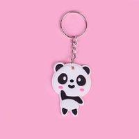 niedliche kleine frauen tasche großhandel-Netter netter kleiner Panda Keychain Kawaii Karikatur-Tierschlüsselkette Schmuck-Mädchen-Beutel-Verzierungs-Zusatz-Geschenk der Frauen für Dame