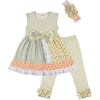 Wholesale new arrivals kids clothes set summer resale online - New Arrival Baby Girls Outfits Kids Sleeveless Striped Floral Lace Cotton Top with Ruffle Pants and Headband Toddler Clothing Set